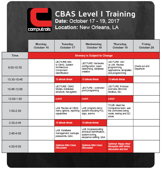 CBAS Level I Training Itinerary