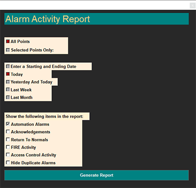 Alarms in CBAS